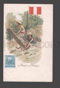 090504 PERU PEROU FLAG STAMP & postman Vintage lithograph PC