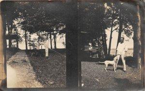 G45/ Owasco Lake New York RPPC Postcard 1908 Cottage  Man Dog
