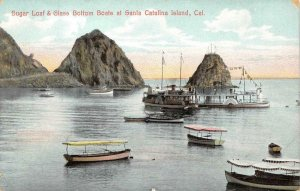 Sugar Loaf & Glass Bottom Boats SANTA CATALINA ISLAND, CA 1910s Vintage Postcard