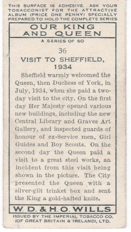 Cigarette Card Wills Our King and Queen No 36 Visit to Sheffield