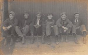A16/ Occupational Men Job Real Photo RPPC Postcard '10 Factory Workers Overalls5