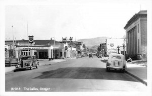 The Dalles OR Chevron Gas Station Note Advertising Car Real Photo Postcard