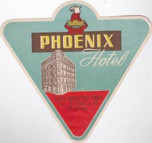 Argentina Buenos Aires Phoenix Hotel Vintage Luggage Label lbl0168