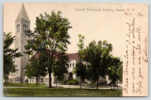 Ithaca New York~Cornell University Library~Tall Clock Tower~1906 Postcard