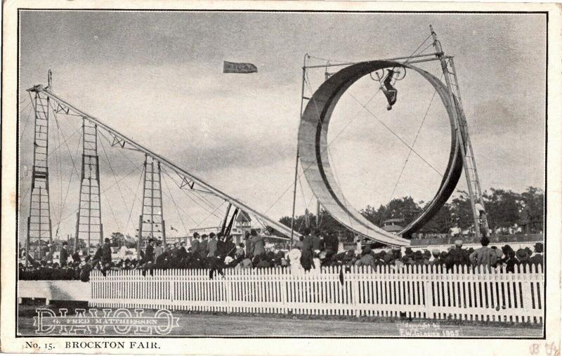 Bicycle Daredevil Diavolo Looping Loop Brockton Fair Glasier 1905 Postcard O12