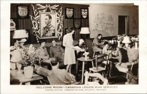 Soldiers Welcome Room Canadian Legion War Services Montreal Quebec Postcard D81