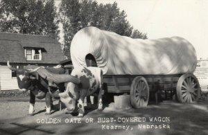 RP: KEARNEY , Nebraska, 1930-40s ; Golden Gate or Bust Ox Wagon