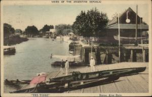 Boat House & Launch Ramp THE TIGRE Buenos Aires NICE COLOR c1910 Postcard