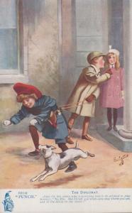 The Diplomat Punch Magazine Dog Horse Juvenile Jokes 9192 Antique Comic Postcard