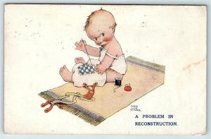 Postcard A/S Mabel Attwell Baby Boy Sewing Pants A Problem in Reconstruction A2