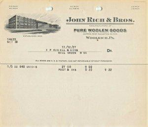 WOOLRICH~JOHN RICH & BROS (NOW WOOLRICH CLOTHING)~1927-MILL CREEK WV-BILLHEAD
