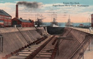 Empty Dry Dock, Puget Sound Navy Yard, Washington, 1918