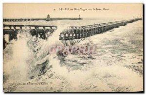 Old Postcard Calais A Wave Of La Jetee West