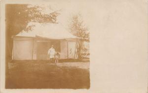 Sumner Iowa~Mrs Stafford~Where We Live Now~Visit Us Tenting~Boy & Dog~1908 RPPC