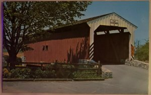 Chrome Postcard: Old Covered Wooden Bridge- Amish Country