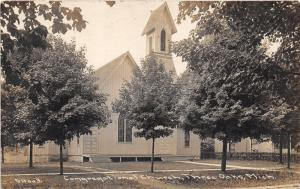 Three Oaks Michigan~Congregational Church~Lots of Trees in Front~Vintage RPPC