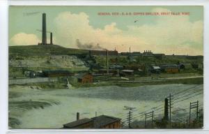 B & M Copper Smelter Panorama Great Falls Montana 1910c postcard
