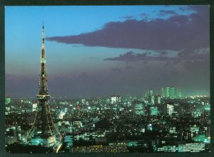 Night View of Tokyo Tower in Japan City Skyline Skyscrapers Continental Postcard