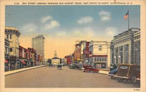 North Carolina Fayetteville    Hay Street Looking Towards Old Market House,