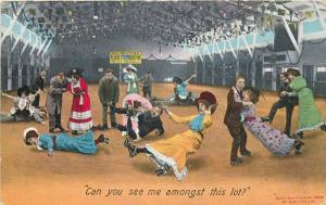 Comic skaters couples women stunts accidents Bamforth 1909 postcard