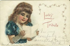 Victorian Girl in Blue Dress Reading Card or Letter Love's Tribute McLaughlin