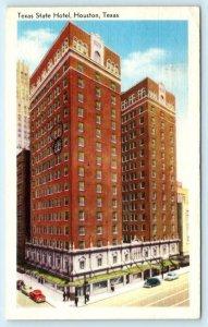 HOUSTON, Texas TX ~ TEXAS STATE HOTEL 1957 Linen Roadside Postcard