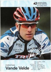 USPS Pro Cycling Team - Post Card - Cris. Vande Velde - Mint