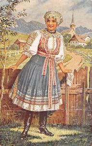 Folk Woman, Lady, National Costumes Nationaux, J. Mukarovsky Mukarovskyho Signed