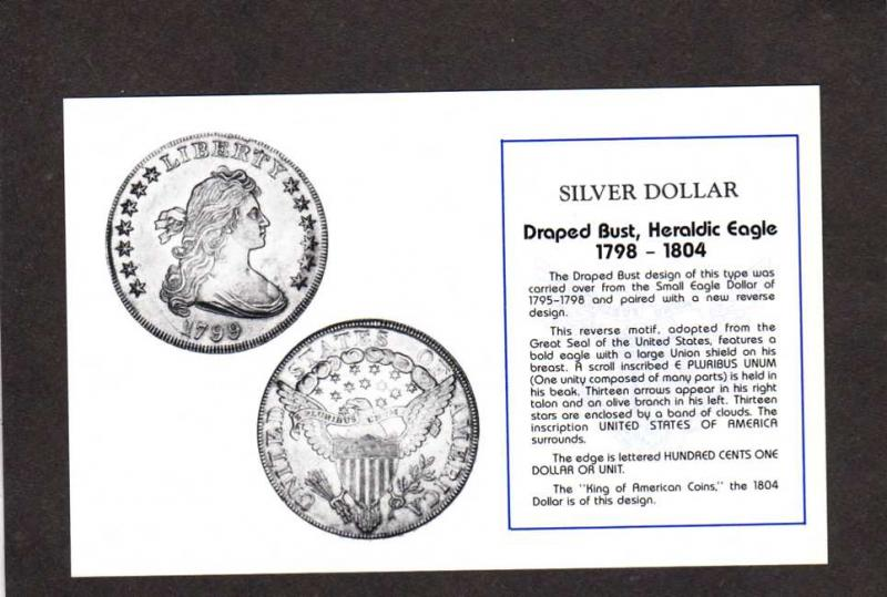 Coins Silver Dollars Draped Bust Heraldic Eagle US Coinage Money Postcard