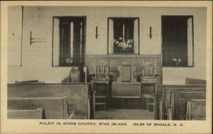Isles of Shoals Star Island Church Interior Old Postcard