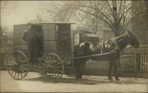 Wilkes-Barre PA Bakery Horse Wagon 56 East Market St Real Photo Postcard G19