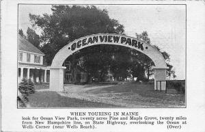 Wells Corner ME Ocean View Park Advertising Postcard