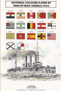 HMS Aurora WW1 National Colours Ship Flag WW1 Postcard