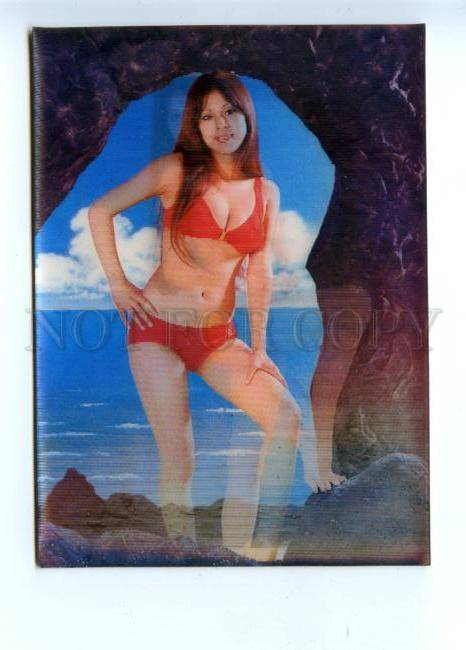 Vintage 3d postcard naked girl on chair toppan top stereo