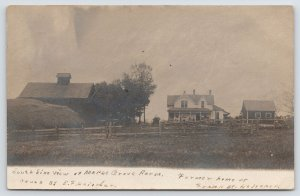RPPC Maple Grove Farm~Home of Frank & E F Heischer~Barn 1906 Real Photo Postcard