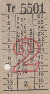 40 Antique London Transport Circa WW2 Bus Ticket Bundle