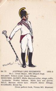 Austrian Line 18th Regiment Drum Major Napoleonic War Uniform Postcard