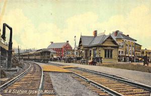 Ipswich MA Railroad Station Train Depot Postcard
