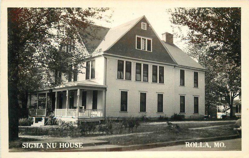 1940s Fraternity House College Sigma Nu House Rolla Missouri RPPC postcard 5549