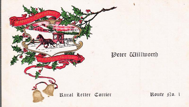 Mail Carrier's Printed Xmas Card for People on His Route