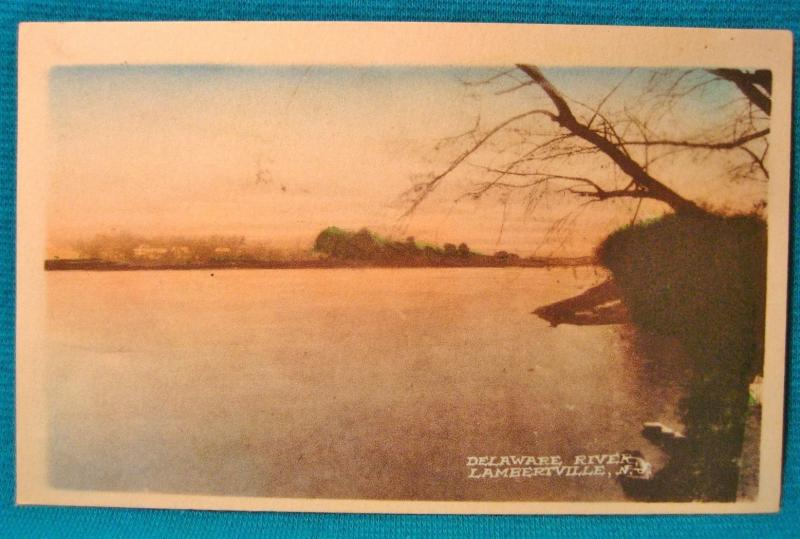 1915-30 Lambertville NJ Hand Color Delaware River View New Jersey Nomis NY RARE