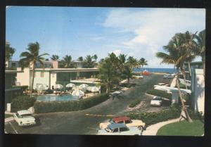 PALM BEACH FLORIDA SEA BREEZE HOTEL MOTEL 1950's CARS ADVERTISING POSTCARD