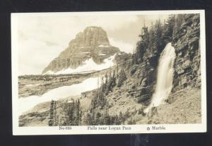 RPPC GLACIER NATIONAL PARK MONTANA LOGAN PASS FALLS REAL PHOTO POSTCARD