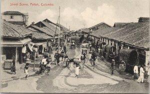 Pettah Colombo Sri Lanka Ceylon Street Scene Unused Plate & Co. Postcard F75