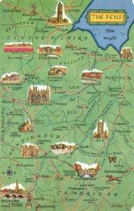 The Fens Map Postcard, Cambridgeshire, Lincolnshire, Norfolk FV2