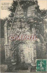 Old Postcard Brittany Picturesque Fountain Saint Nicodeme near Pontivy