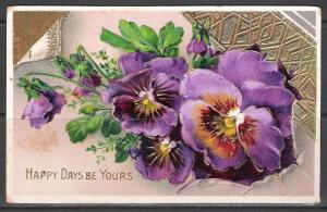 Happy Days Be Yours - Pansies - Embossed - [MX-133]