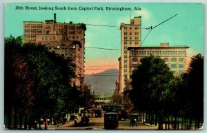 Birmingham AL~Trolleys Criss Cross Intersection~Wired High-Rise Bldgs 1910 SHARP