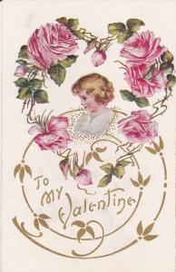 TO my VALENTINE, Child's face in Heart shaped roses, Gold detail, PU-1909