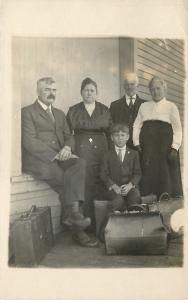 Real Photo Postcard~Four Adults, One Kid Packed & Ready To Go~Luggage~RPPC c1914